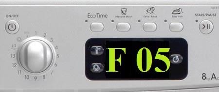 Что значит ошибка F05 стиральной машины Аристон